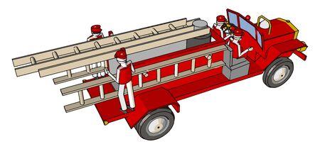 Red firetrucks, illustration, vector on white background.