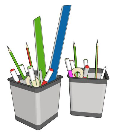 Pen holder, illustration, vector on white background.