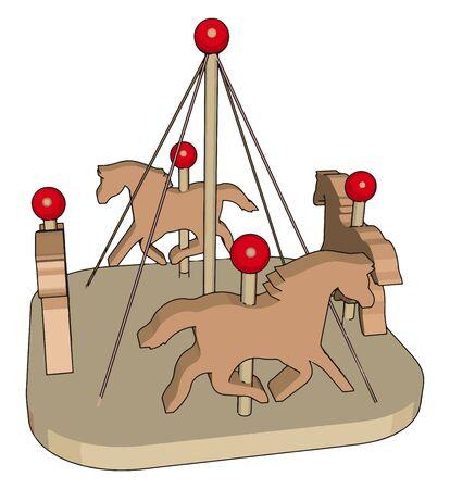 Small carousel, illustration, vector on white background. Иллюстрация