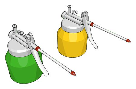 Green and yellow welding machine, illustration, vector on white background.
