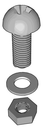 Screw, illustration, vector on white background. Ilustração