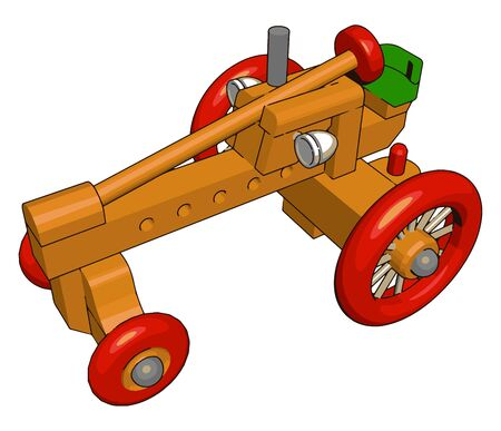 Red tractor toy, illustration, vector on white background. Banque d'images - 132761460