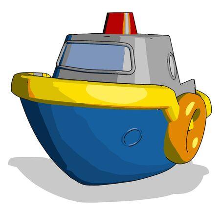 Blue little ship toy, illustration, vector on white background. Banque d'images - 132761461