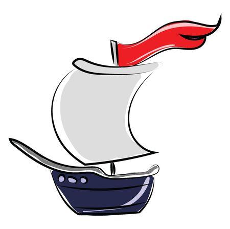 Blue boat, illustration, vector on white background.