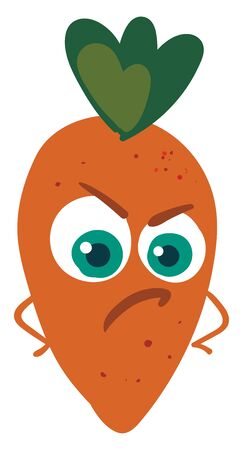 Angry carrot, illustration, vector on white background.