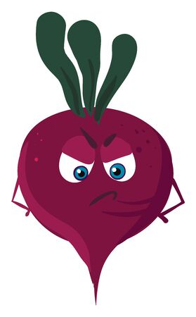 Angry beet, illustration, vector on white background. 向量圖像