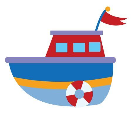 Blue boat, illustration, vector on white background. Banque d'images - 132761524