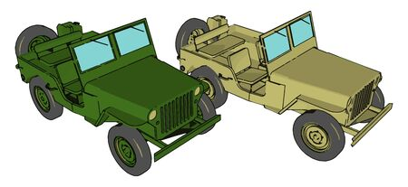 Green military vehicle, illustration, vector on white background.