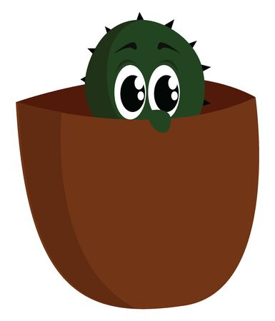 Baby cactus in pot, illustration, vector on white background. Иллюстрация
