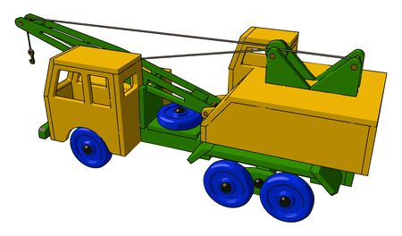 Little firetruck toy, illustration, vector on white background.