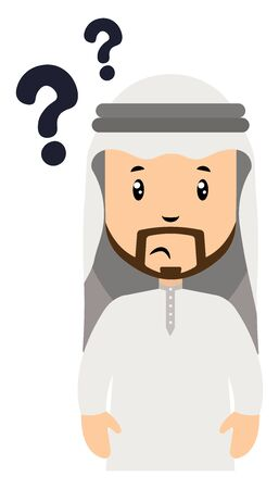 Arab with question marks, illustration, vector on white background.