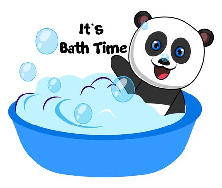 Panda taking bath, illustration, vector on white background.