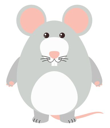 Big mouse, illustration, vector on white background. Illustration
