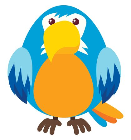 Blue parrot, illustration, vector on white background.