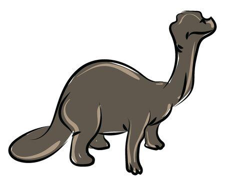 Brontosaurus, illustration, vector on white background.