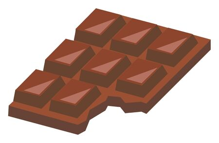 Eaten chocolate, illustration, vector on white background. Banque d'images - 132711926