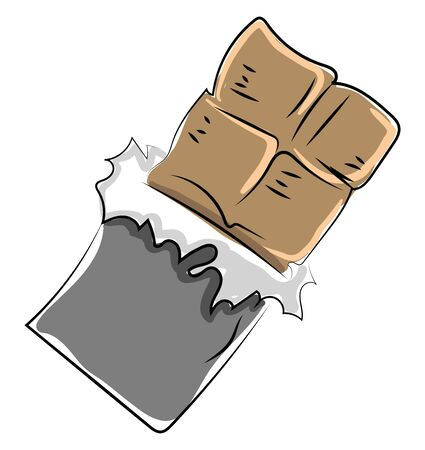 Chocolate bar, illustration, vector on white background. Banque d'images - 132938524