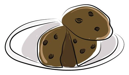 Chocolate cookie, illustration, vector on white background.
