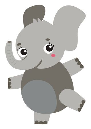 Dancing elephant, illustration, vector on white background.
