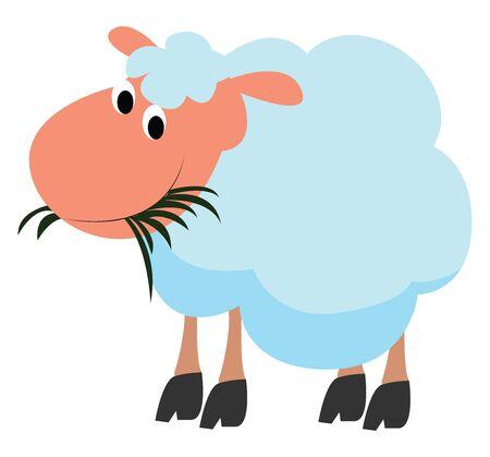 Happy sheep, illustration, vector on white background. Illustration