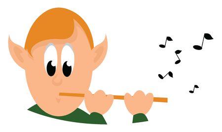 Boy with flute, illustration, vector on white background. Illustration