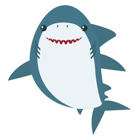 Happy shark, illustration, vector on white background.
