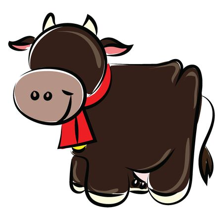 Happy cow, illustration, vector on white background.