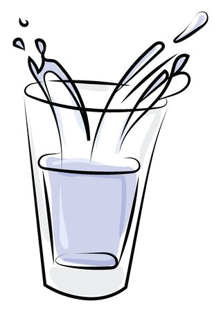 Cup of water, illustration, vector on white background.