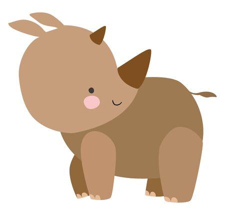 Cute rhino, illustration, vector on white background.