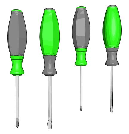Green screwdrivers, illustration, vector on white background.