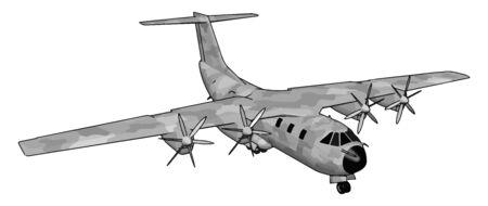 Big old bomber, illustration, vector on white background. Illustration