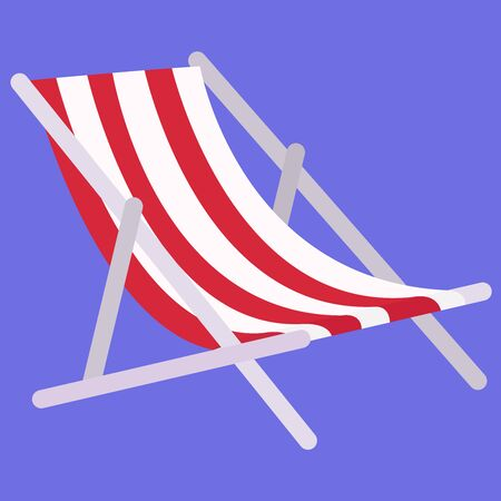 Deckchair, illustration, vector on white background. Vettoriali