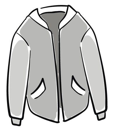 Gray jacket, illustration, vector on white background. Illustration