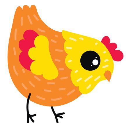 Orange chick, illustration, vector on white background. Archivio Fotografico - 132940477