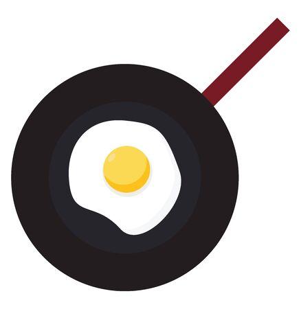 Frying pan, illustration, vector on white background.