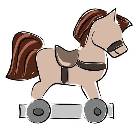 Horse toy, illustration, vector on white background. Stock Illustratie