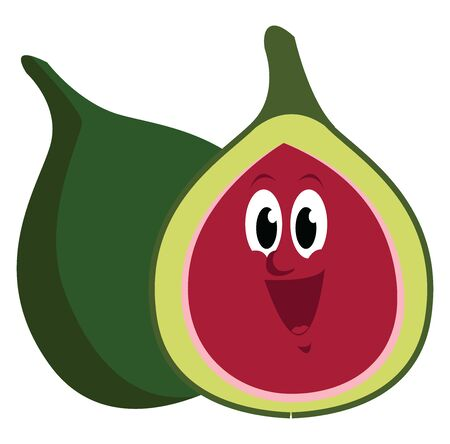 Happy fig, illustration, vector on white background.