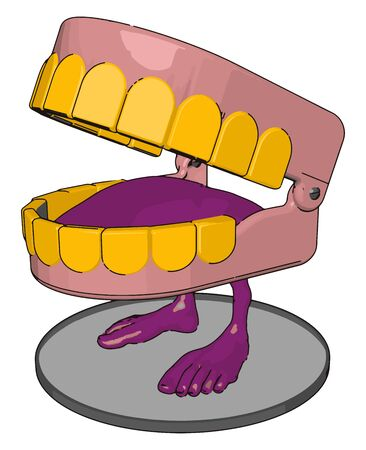 Jaw toy, illustration, vector on white background.