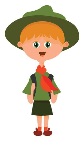 Scout boy, illustration, vector on white background. Stock Illustratie