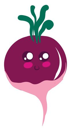 Cute radish, illustration, vector on white background.