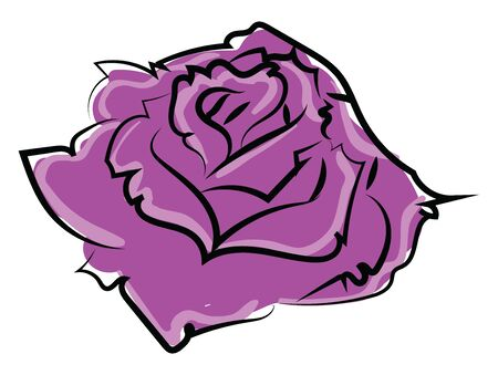 Purple rose, illustration, vector on white background.