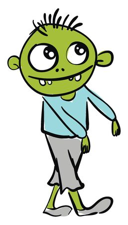 Green happy zombie, illustration, vector on white background.