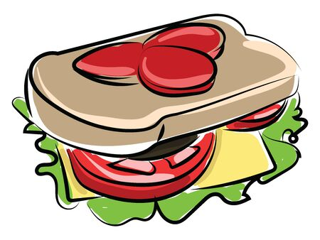 Sandwich, illustration, vector on white background.