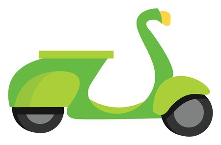 Green moped, illustration, vector on white background.