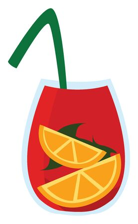 Sangria drink, illustration, vector on white background.