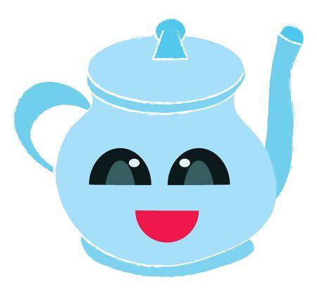 Happy tea pot, illustration, vector on white background.
