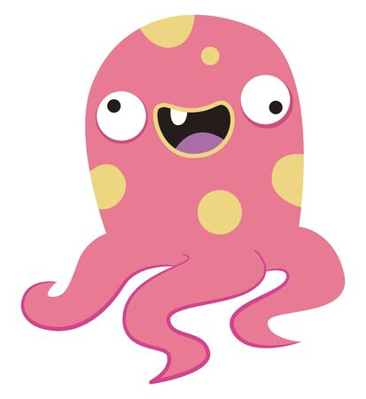Crazy octopus, illustration, vector on white background.
