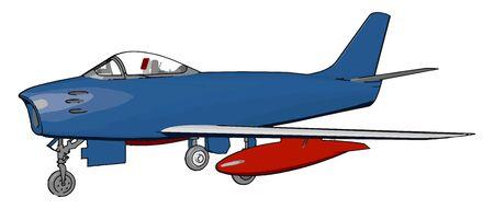 Blue air bomber, illustration, vector on white background.