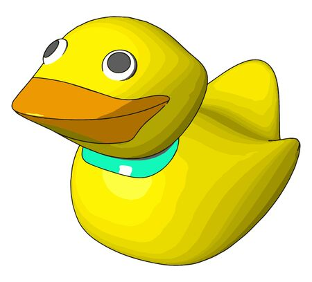 Rubber duck, illustration, vector on white background.