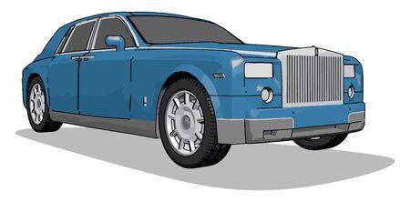 Blue car, illustration, vector on white background. Illustration